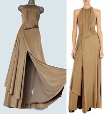 Karen Millen Honey Brown Jersey Drape Slinky Cocktail Evening Maxi Dress 12/40