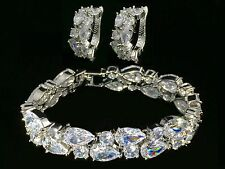 14k White Gold Bracelet Earrings Set made w/ Swarovski Crystal Sparkling Bridal