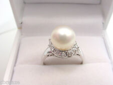 FINE CULTURED AKOYA PEARL 8.8 mm with DIAMONDS  PLATINUM RING