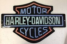 "Ande Rooney HARLEY DAVIDSON ""NEON LIGHTS"" Tin Sign HD Motorcycle Garage Man Cave"