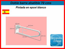 DOBLE BARRA ABATIBLE 70 CMS. BARRA PARA BAÑO PERSONAS MAYORES ORTOPEDIA. EPOXI.
