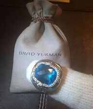 $1,350 DAVID YURMAN STERLING SILVER LABYRINTH DIAMOND & SWISS BLUE TOPAZ RING