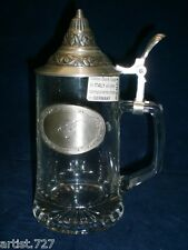 "Crystal Cut Beer Stein/Mug with Pewter Lid - Monogram B, Germany/Italy, 8"" tall"