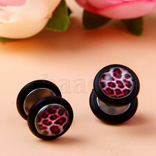 Red Leopard Print Fake 0 Gauge Barbell Ear Studs Cheater Expander Earring  MA