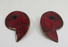 Vintage 1960's Red and Black  Enamel on Copper Clip On Earrings