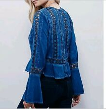Free people victorian top size M blue trumpet sleeves long boho peasant