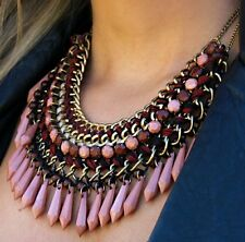 ZARA BEAUTIFUL COFFEE FANCY INTERWOVEN BEADED CORD AND CHAIN NECKLACE PINK