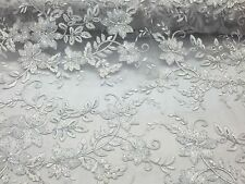 Metallic White Modern Flower Design Embroider On A Mesh With Sequins-prom-yard.