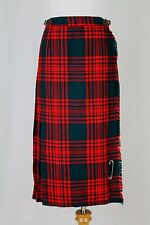 Vtg Gor-Ray Red & Green Pleated Midi Wool Scottish Tartan Plaid Kilt Skirt S XS
