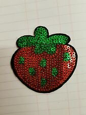Strawberry sequin embroidery patch hotfix applique motif dress dance costume