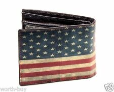 New Mens Bifold Genuine Leather Wallet Billfold American Old USA Flag Print Card