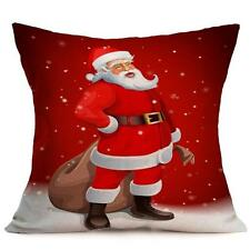 Cotton Linen Christmas Style Sofa Waist Cushion Cover Car Pillow Case Cover #10