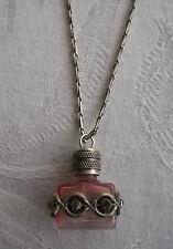 Vintage LVP France Pink Perfume Bottle Pendant Necklace