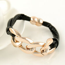 Fashion Black Leather Wristband Gold Plated CCB Chain Charms Womens Bracelet