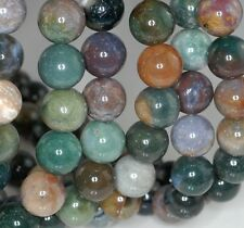 14MM SANCTUARY INDIAN AGATE GEMSTONE GREEN BROWN ROUND 14MM LOOSE BEADS 8""