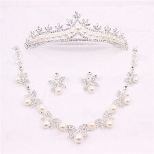 Handmade Crystal Pearl Wedding Bridal Tiara Crown+Necklace+Earring Set Accessory