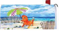 Ocean Beach Chair Umbrella Seagull Magnetic Mailbox Cover