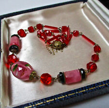 VINTAGE JEWELLERY ART DECO PINK/RED FLOWER CRYSTAL GLASS NECKLACE