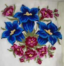 Blue & pink flowers started salvage needlepoint project