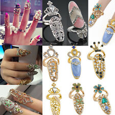 Women Bowknot Punk Crystal 3D Nail Art Midi Above Knuckle Band Finger Tip Ring