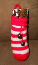 Knitted Stocking w/Bells Full of Toys Christmas Holiday Ornament - Nice