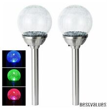 6 x Solar Power Colour Changing Crackle Glass Ball Lights