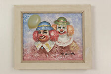 W. Moninet Clowns w/ Balloon Original Signed & Framed Painting Colorful Bright