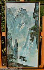 WANG Chinese Palette Knife Oil Painting Huangshan Mountain Landscape Pine Tree