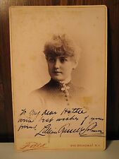 ANTIQUE LILLIAN RUSSELL SOLOMON AUTOGRAPH CABINET CARD 1884 - 1886 FALK NY PHOTO