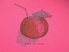Life is Good *Coconut Cocktail* size XL Womens S/S Pink Crusher V-neck Tee NWT!