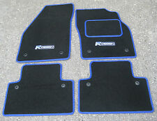 "Car Mats in Black/Blue Trim to fit Volvo V40/S40/V50 (04-12) + ""R Design"" Logos"