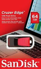 Sandisk CRUZER Edge 64GB USB 2.0 Flash Pen Drive 64 GB SDCZ51-064G-B35 Retail