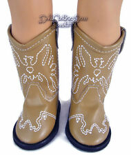 White Cowboy Boots made for 18 inch American Girl Doll Clothes Shoes
