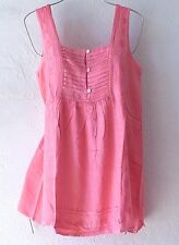 NEW~Peach Coral & Lace Peasant Blouse Shell Tank Boho Top~12/14/16/L/Large