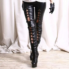 Women Punk Lace up Faux Leather Black Ankle Pants Gothic Ladies Leggings