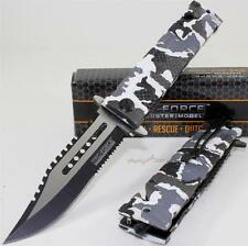"""9"""" TAC-FORCE Snow Camo Bowie Sawback Linerlock Spring Assisted Rescue Knife"""