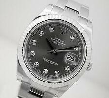 Rolex DATEJUST II 116334 Mens Steel & White Gold Rhodium Diamond Dial 41MM