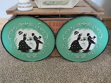 "Lot 2 Vintage Shabby Chic Green Silhouette Round Metal 11"" Tray Man Woman LOVE"
