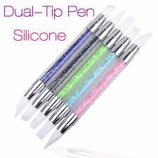 Nail Art Brush Dotting Tools 2 Way Nail Art Sculpture Pen Silicone Carving DIY