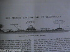 Glastonbury Iron Age Lake Village Godney Rare Antique Victorian Article 1895