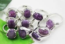 wholesale 10pc Thick  Silver mixed natural amethyst Gemstone rings  Y176