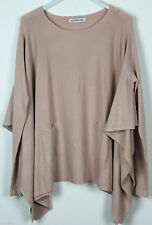 New Ladies Oversized Boxy Lagenlook Quirky Long Sleeve Knitted Poncho Jumper Top