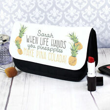 Personalised Tropical Pineapple Makeup Case Make Up Bag Birthday Gift For Her