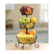 3 Tier Fruit Basket Bowl Holder Stand Kitchen Storage Organizer Wire Black Home