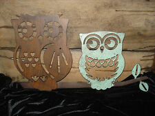 CUTE OWL BIRD TREE METAL SIGN fall wall art animal brown turquoise stencil style