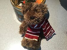 POLO Ralph Lauren Soft Brown Teddy Bear 2003 Plush Stuffed Toy w/ Red Scarf t