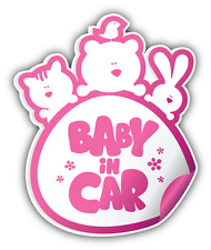 "Baby In Car Girl Sign Car Bumper Sticker Decal 4"" x 5"""