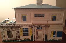 Vintage Superior Tin Metal Lithograph 5 Room  Doll House/ furniture Estate Find