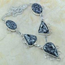 """Natural Obsidian Snowflake 100% Pure 925 Sterling Silver Necklace 18.25"""" #B17623"""