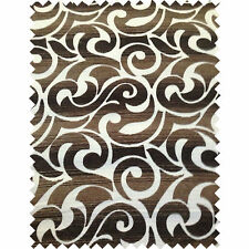 Brown Beige Swirl Retro Pattern Chenille Fabric Curtain Craft Interior Upholster